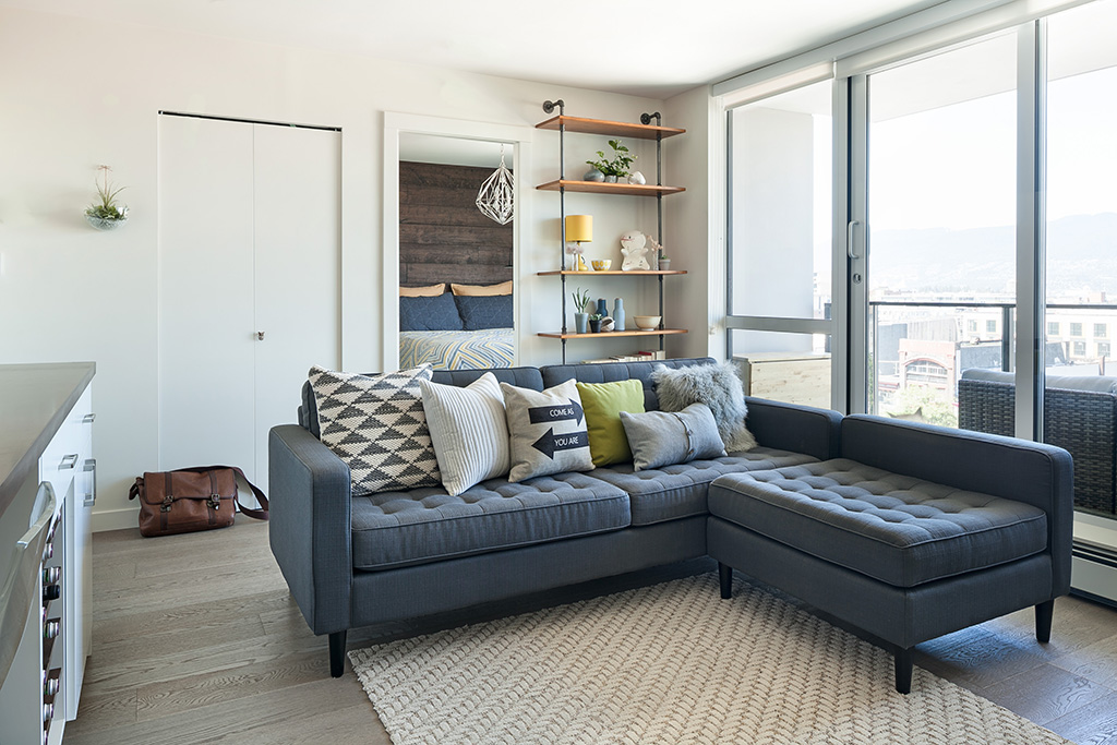 grey sofa with assorted cushions