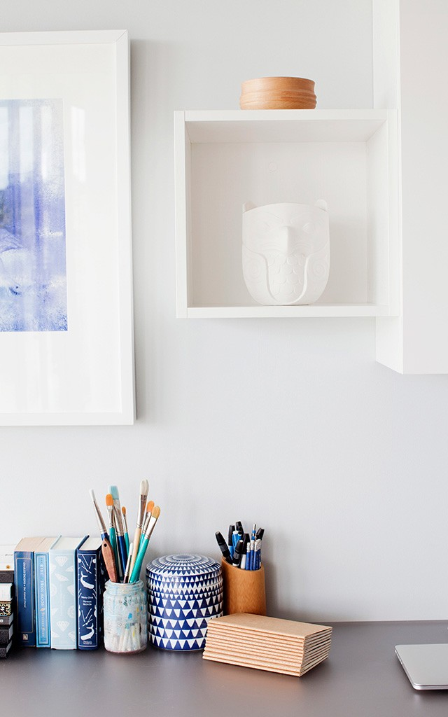a detail of the desk in a home office