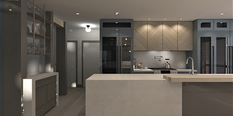 a 3D render of a modern kitchen with grey cabinetry