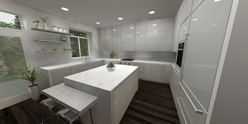 a 3D render of a modern white kitchen