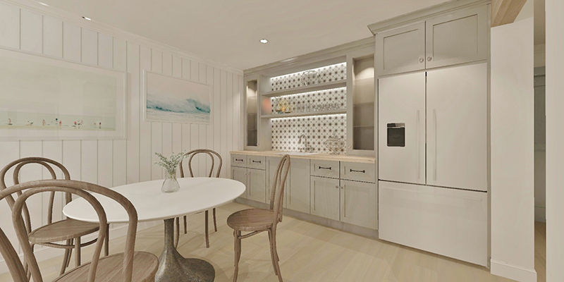 a 3D render of a light-coloured modern kitchen