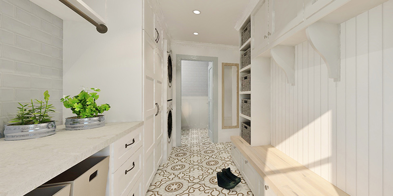 A 3D render of a white tile mudroom