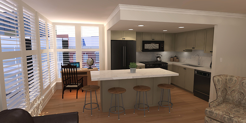 A 3D render of a modern kitchen island